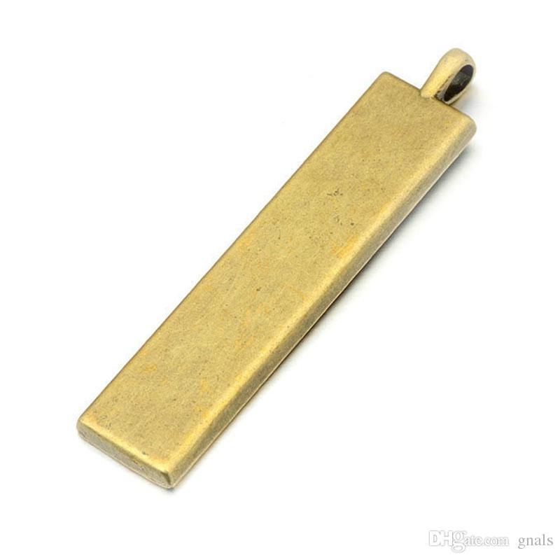 10 * 50 MM Rectángulo llavero placa base para el número de licencia del coche DIY Llaveros Antique Bronz / Silver Plated