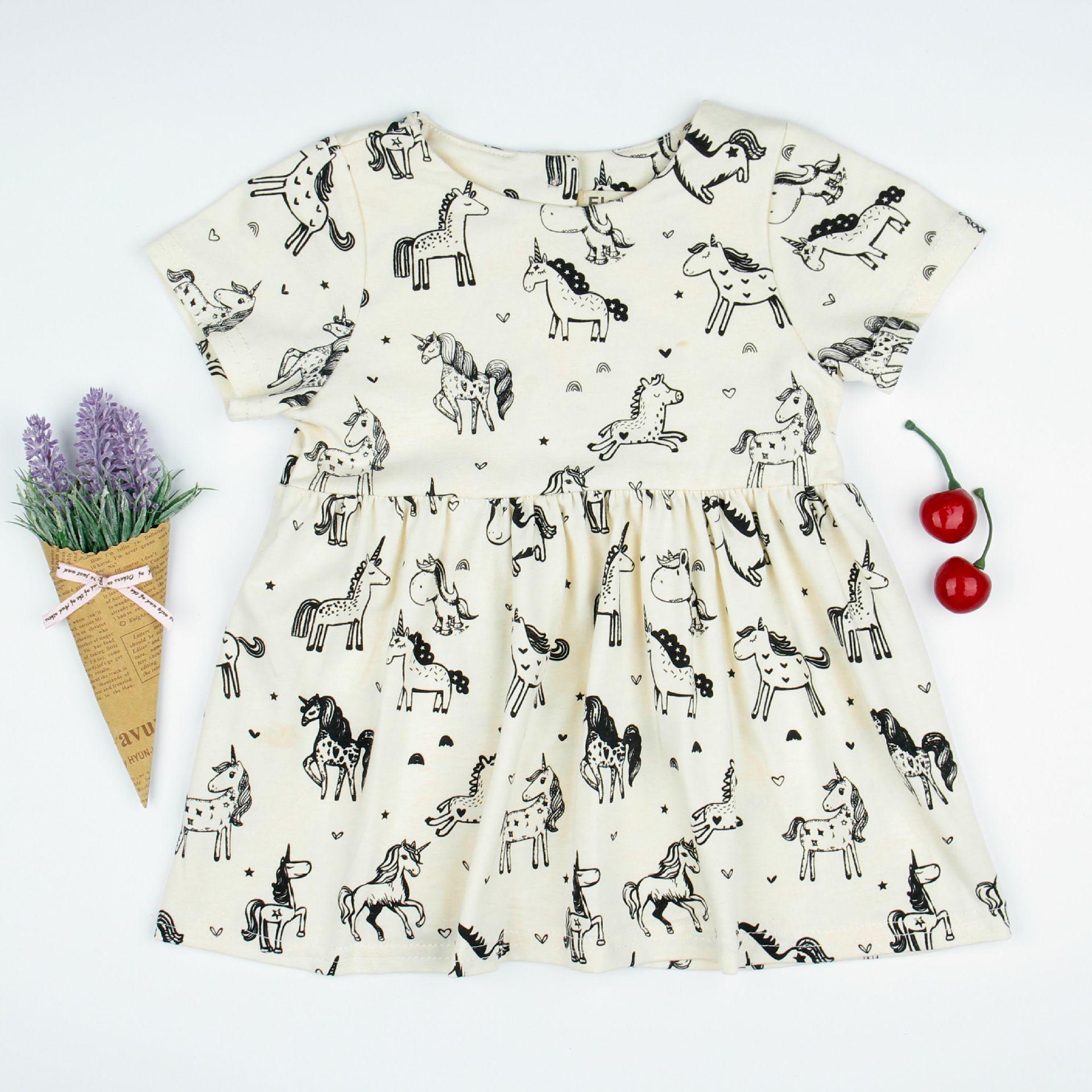 31d0344db840 SALE Summer Dress Girl Baby Skirt Unicorn Print Dress Boutique ...