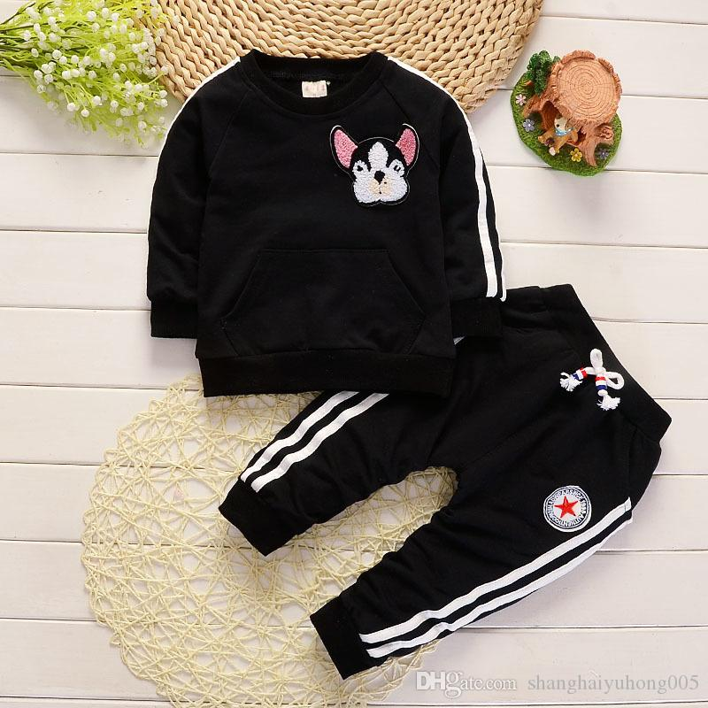 Spring Autumn Children Boys Girls Clothing Suits Fashion Baby Embroidery Cartoon Dog T-shirt Pants /sets Toddler Tracksuit