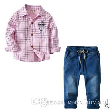 d98334ed4bb1 2019 Boys Set Clothes Outfits 2018 Summer Baby Boys Long Sleeve Pink Plaid  Shirt Denim Pants Trousers Set Infant Toddler Clothes 2 7Y From  Crazyfairyland
