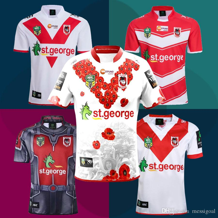 33a5d34a28a 2019 New St. George Illawarra Dragons Rugby Jerseys 2019 NRL Home And Away  Shirt National Rugby League Dragons Limited Commemorative Edition Tops From  ...