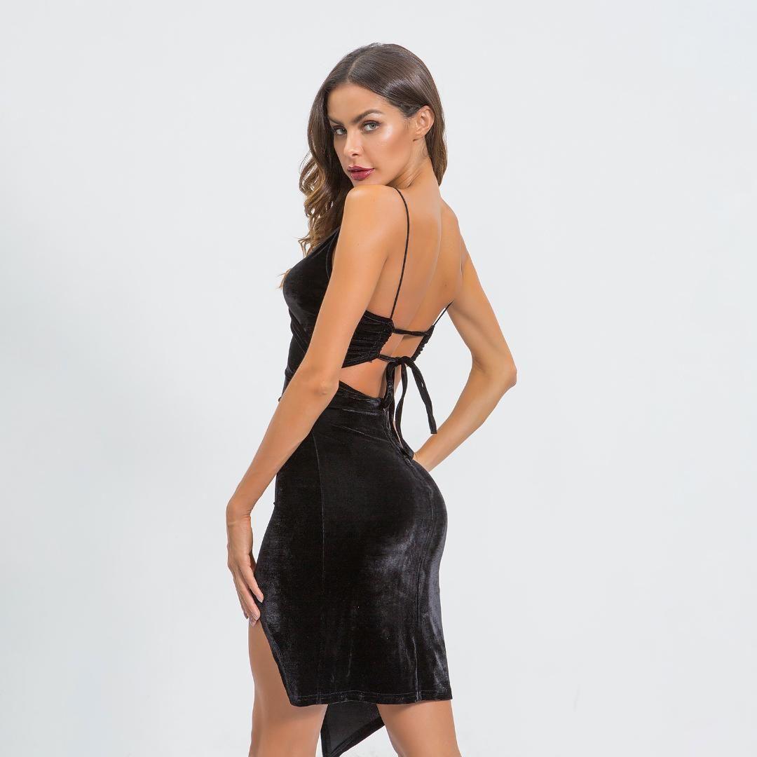88ec8fcb2d7e2 Spaghetti Strap Cami Midi V Neck Asymmetrical Velvet Dress Womens Elegant  Bodycon Backless Bowknot Black Sexy Dresses Club Wear Black And Gold Dresses  For ...