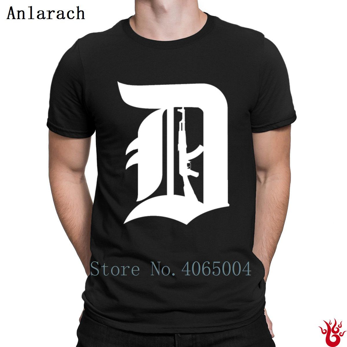 Defend Detroit Ak47 T Shirt Hip Hop Custom Cotton Basic Mens Tshirt