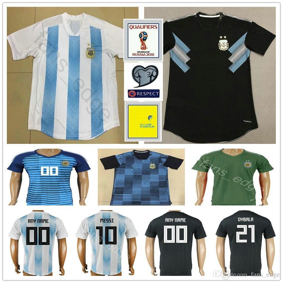 official photos 8b6b3 2b289 2018 Argentina World Cup Jerseys 10 MESSI KUN AGUERO MARADONA DYBALA  HIGUAIN BIGLIA ICARDI DI MARIA Custom Home Away Soccer Football Shirt