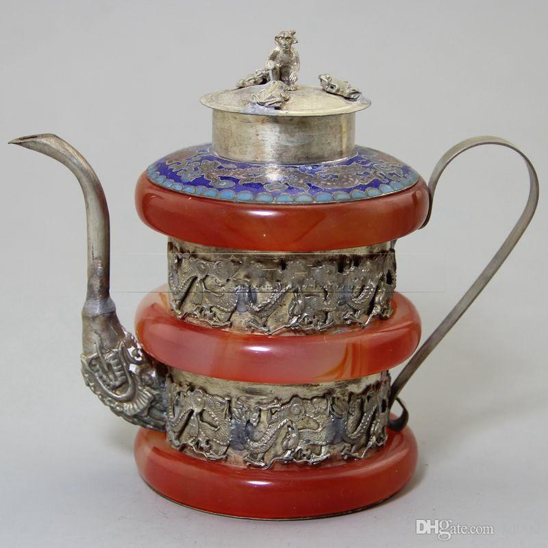Retro Tibet Silver Red Jade Carving Double Dragon Wine Pot Old Antique Crafts Collection Ornament Garden Decor 53yx bb