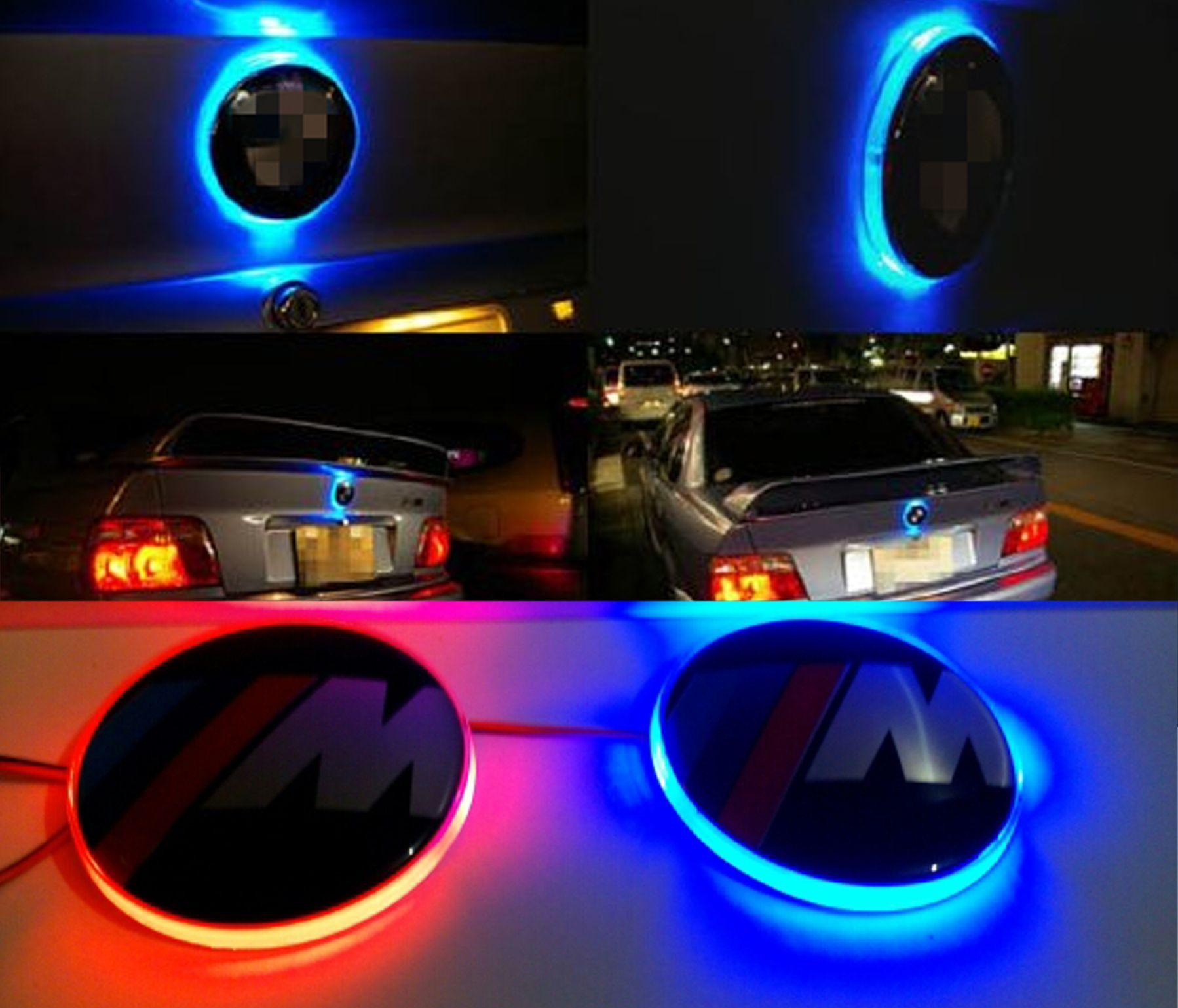 Spedizione gratuita LED Car Decal Sticker Logo Badge Emblem Light Lampada 12 V BMW 3 5 7 Serie Rosso Bianco Blu Colore Promozione della fabbrica Vendita calda