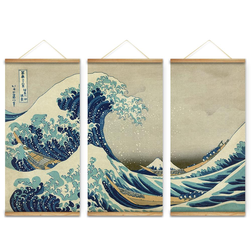 3pcs Japan Style The Great Wave Off Kanagawa Decoration Wall Art Pictures Hanging Canvas Wooden Scroll Paintings For Living Room