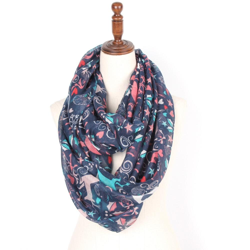 staiwalks 85180cm infinity scarf ring scarf with snowflakes snow flower christmas bell ball deer stars hearts print for women shawls and wraps tying