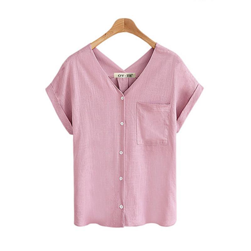bbdd8b685 Compre Verão Mulheres Com Decote Em V Camisa De Algodão De Linho Feminino  Casual Top Rosa Branco Azul Cáqui Senhoras Chiffon Blusa Bolsos Roupas Plus  Size ...