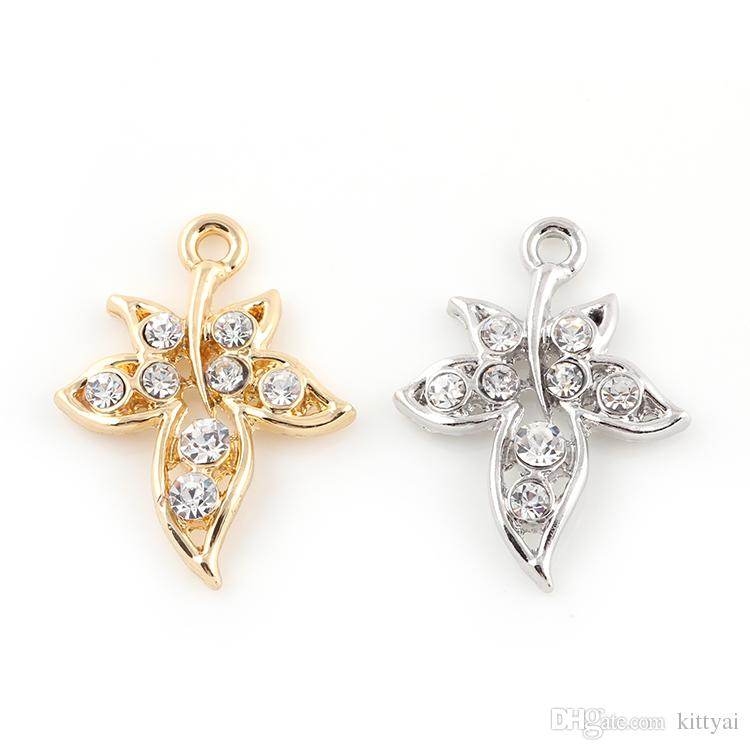 22*29mm Fashion Silver Gold Crystal Maple Leaf Tree Leaf Leaves Charms Pendants Jewelry Findings Accessories