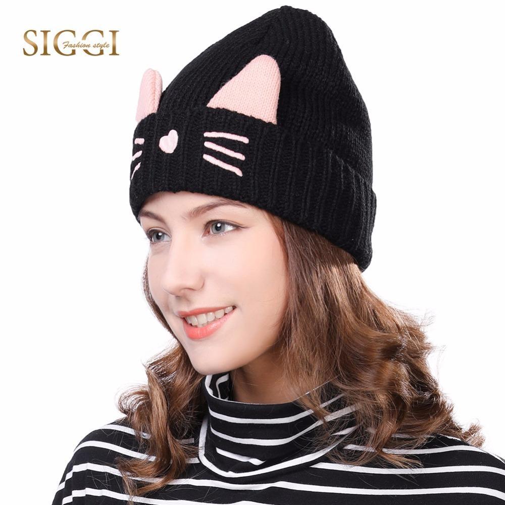 SIGGI Women Knitted Beanies Cat Ear Caps Winter Hats Skullies For Girls  Bonnets Gorros Cute Wool Thick Fleece Czapa Zimowa 88236 D18110102 Mens  Beanies ... e1d17e7ffed