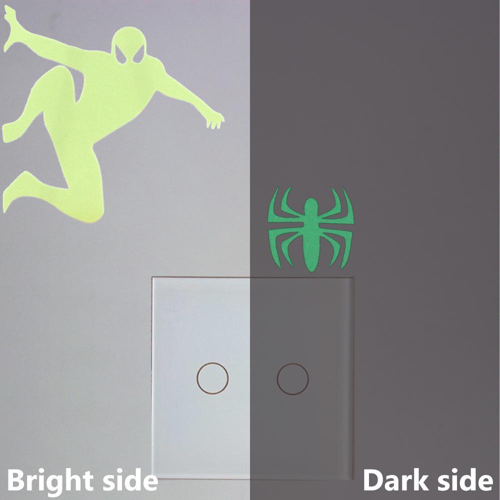 Cartoon Spiderman Luminous Switch Sticker Glow in the Dark Spider Home Decor Wall Stickers Kids Room Bedroom Novelty Decoration