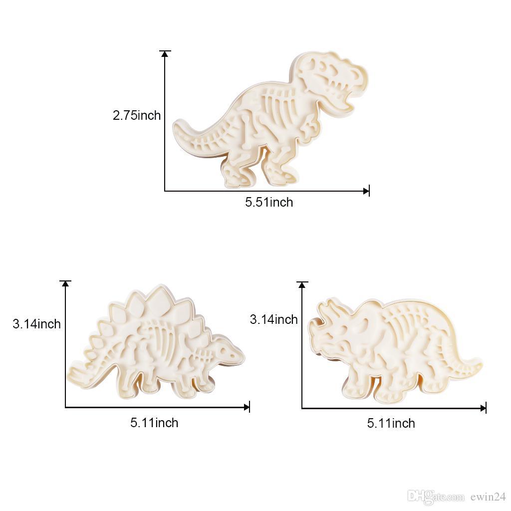Jurassic Dinozor Kurabiye Kalıbı 3 Dinozor Fosili Çerez Kesici Serisi 6 adet PVC Stegosaurus Tyrannosaurus Rex Triceratops Kalıpları