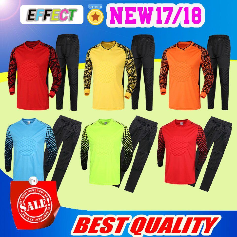 b6a712501 High Quality Soccer Goalkeeper Jersey Goal Keeper Uniforms Long Sleeve Suits  2017 Adult Sponge Protector Suit !! Goalkeeper Adult Soccer Jersey Football  ...