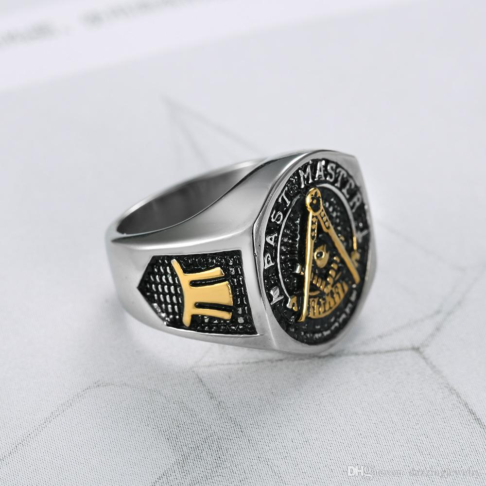 2018 Yeni Paslanmaz Çelik erkek Altın Gümüş Iki ton Geçmiş Usta Masonik yüzükler Takı Mason Mason Signet Yüzük