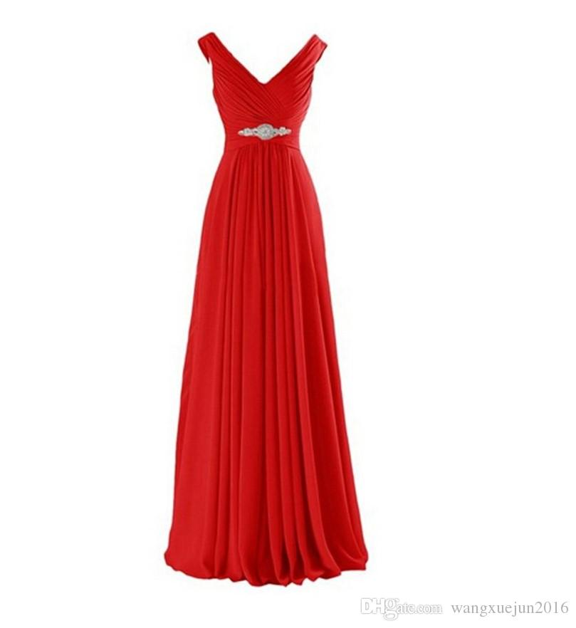 Hot Long Chiffon Beading Bridesmaid Dress 2018 Cheap A Line Pleated Party Prom Pageant Dresses Stock Size 2 4 6 8 10 12 14 16