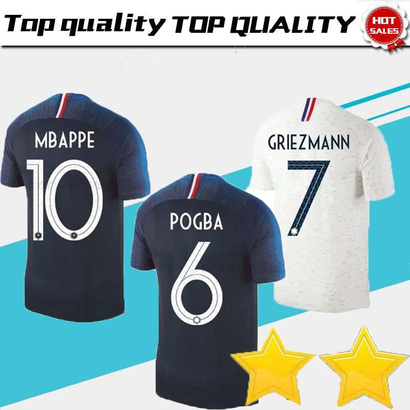 6fe94a341 2019 18 19 La Fr Soccer Jerseys GRIEZMANN MBAPPE POGBA Fr Home Away Blue  And White Soccer Jersey Two Stars DEMBELE MARTIAL Football Shirt From ...