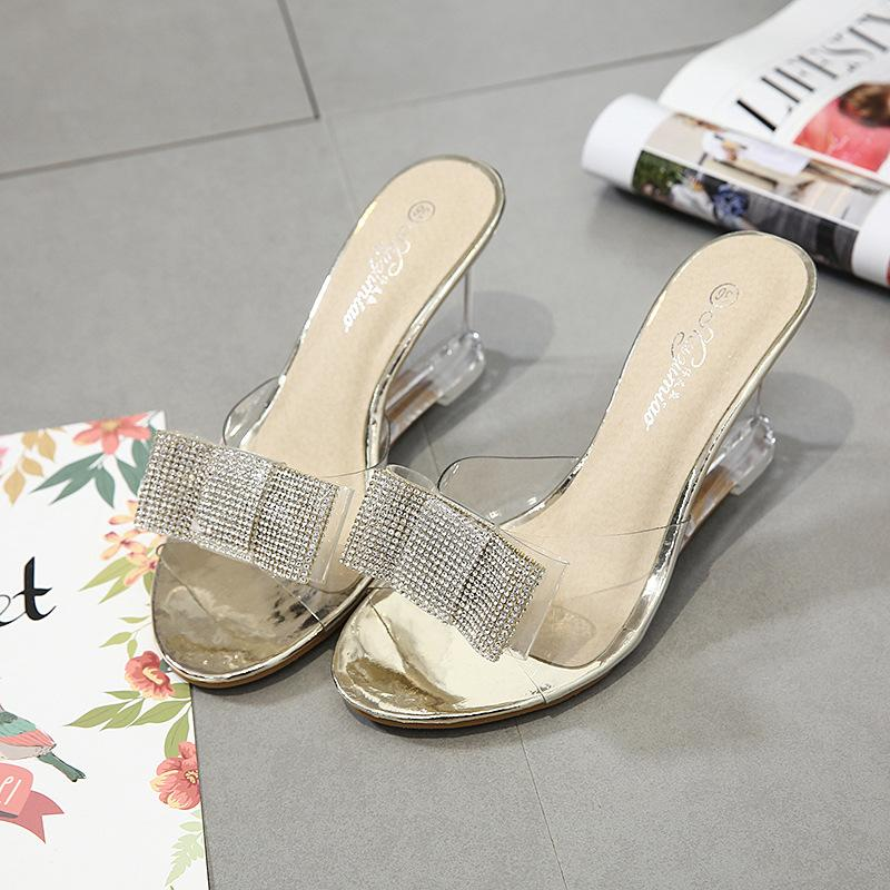 9b6cad88bb9f4e 2018 Rhinestone Wedges Slippers Women Summer Crystal Anti Skid Platform  Sandals Sexy Transparent High Heels Shoes 3838 High Heel Boots Pumps Shoes  From ...