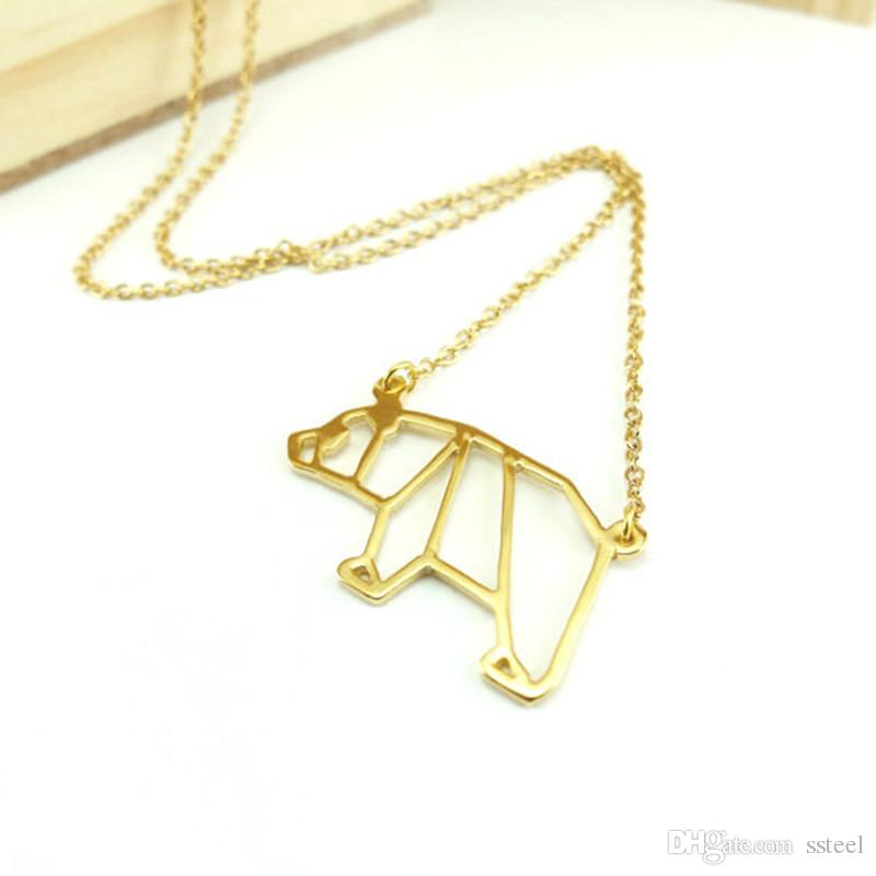 Minimalist Origami Polar Bear Necklace Animal Outline Panda Chain Necklace Jewelry Accessory Gift for Friend
