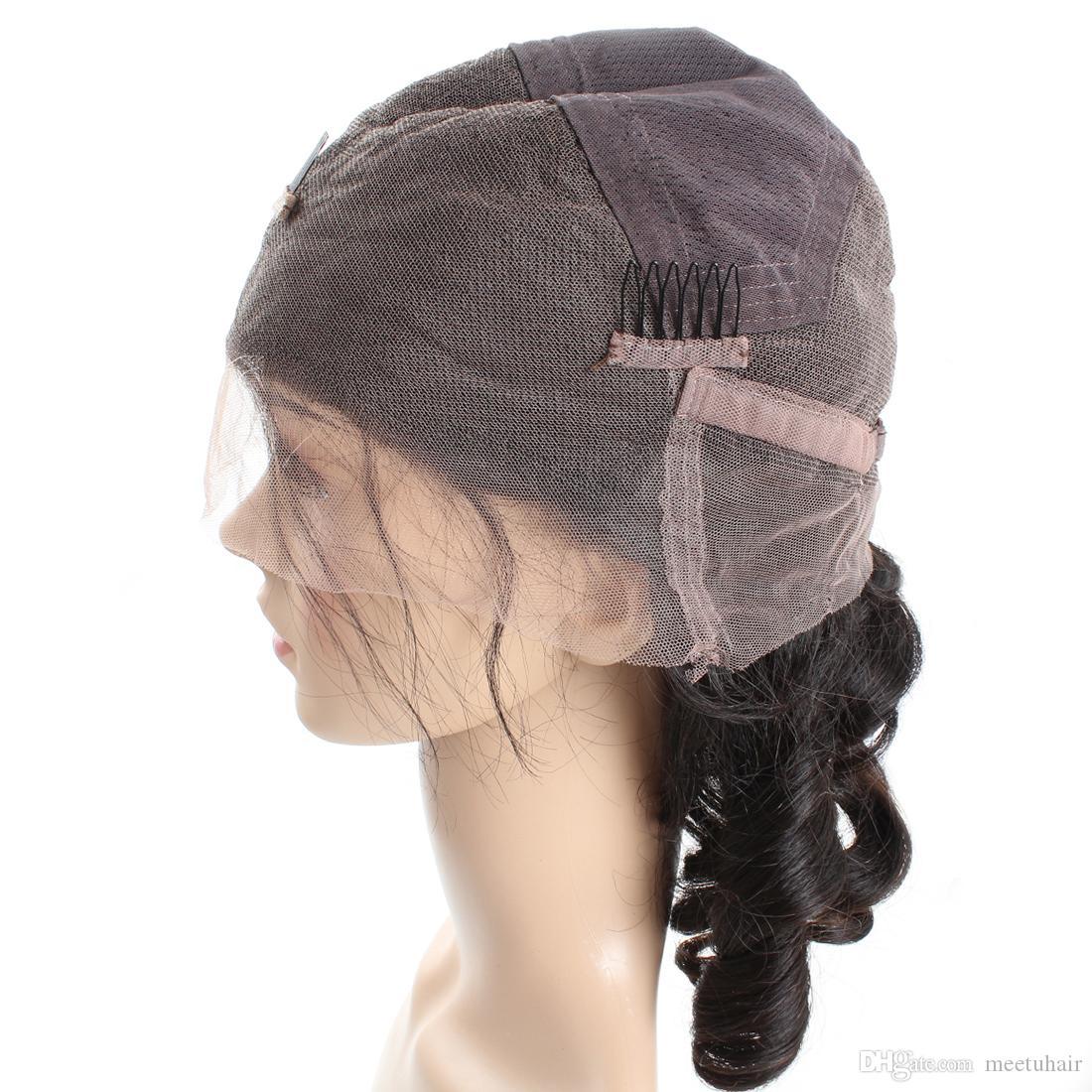 Ucuz 8A Gevşek Dalga Doğal Görünümlü Saç tam dantel İnsan saç peruk Afrikalı Amerikalılar Woman10-30Inch Için Toptan Fiyat Ücretsiz Kargo