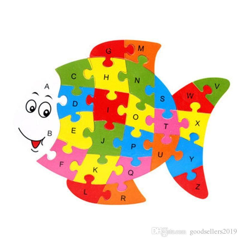 26 Patrones Alfabeto Animal De Madera Aprendizaje Temprano Puzzle Rompecabezas Para Niños bebé Learing Educativo Juguetes Inteligentes Bloque Rompecabezas