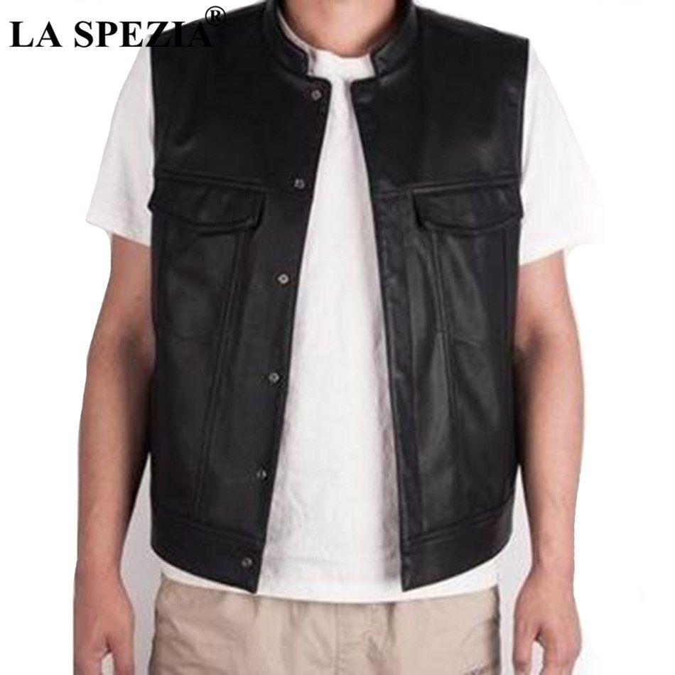 Compre LA SPEZIA Hombres Chaleco Negro Motociclista Hip Hop Chaleco De Piel  Sintética De Cuero Punk Chaqueta Sin Mangas De Primavera Sólida Nueva  Llegada A ... 0ecf5068ad03