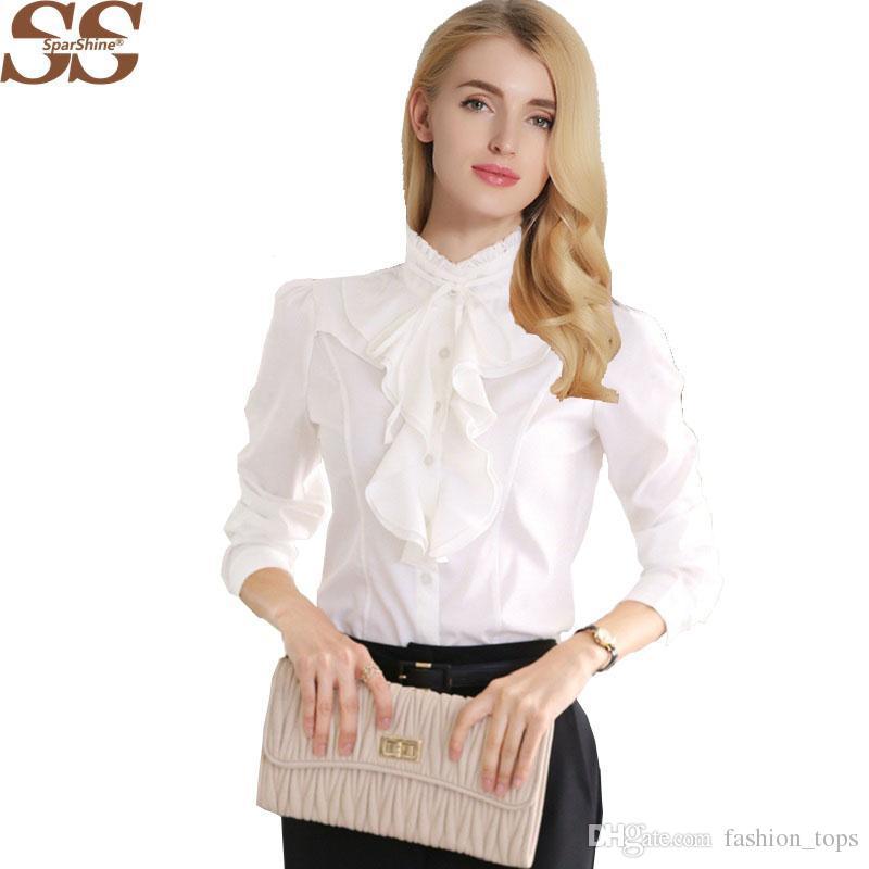 Acquista Nuovo Arrivo Chiffon Volant Camicie Donna Signora Bianco Camicetta  Manica Lunga Camicetta Plus Size S 5xl Slim Donna Blusa Femminile Top A   14.1 ... 5011c54c742