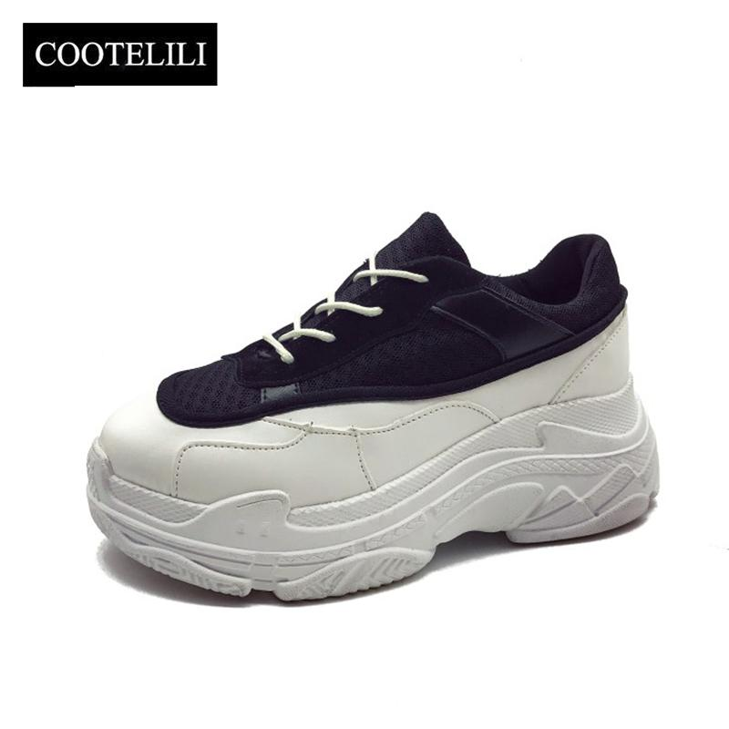 more photos 16834 b41b1 COOTELILI Primavera Donna Sneakers Platform Shoes Donna Casual pumps Ladies  Lace up Mesh Creepers Zapatos Mujer Maggiore Interno