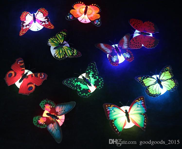 LED 3D Butterfly Wall Stickers Glowing Wall Decals Children Home Decoration DIY Living Room Self Adhesiv Wall stickers c502
