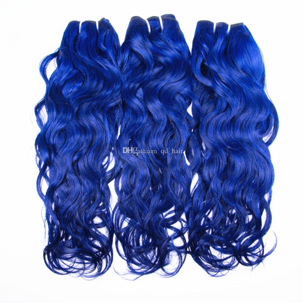 موجة المياه العذراء الإنسان الشعر 3 حزم مع إغلاق الدانتيل 4 قطعة / الوحدة اللون الأزرق الرطب ومائج الشعر اللحمة مع إغلاق 4x4
