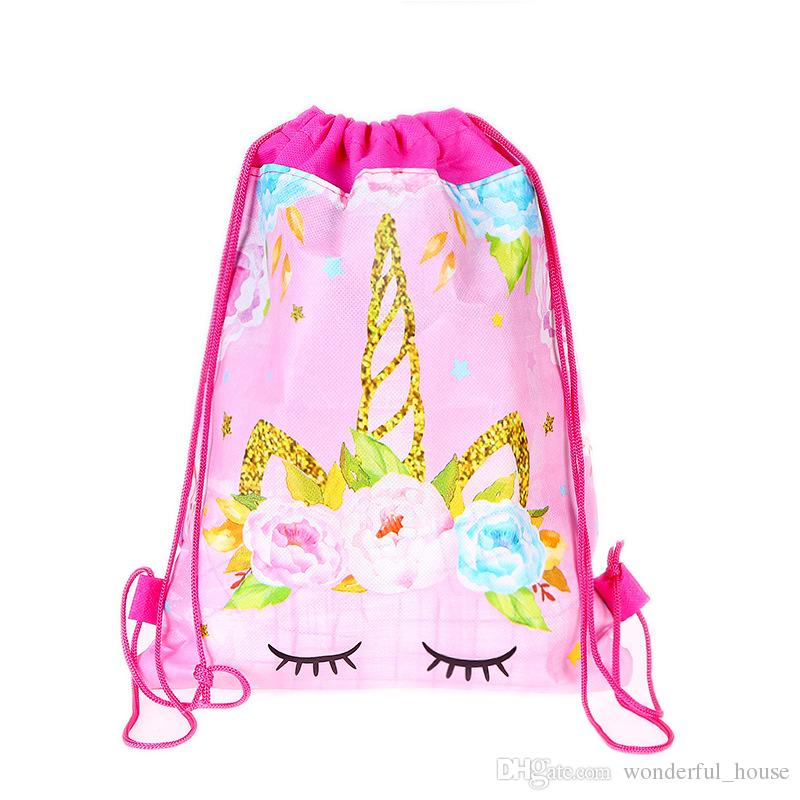 cfde394997ed 2019 Unicorn Drawstring Bag 5 Designs Non Woven Fabric Bags Eco Shopping Bag  Cartoon Backpack Kids School Shoulder Bag Storage Bags DHL From  Wonderful house ...