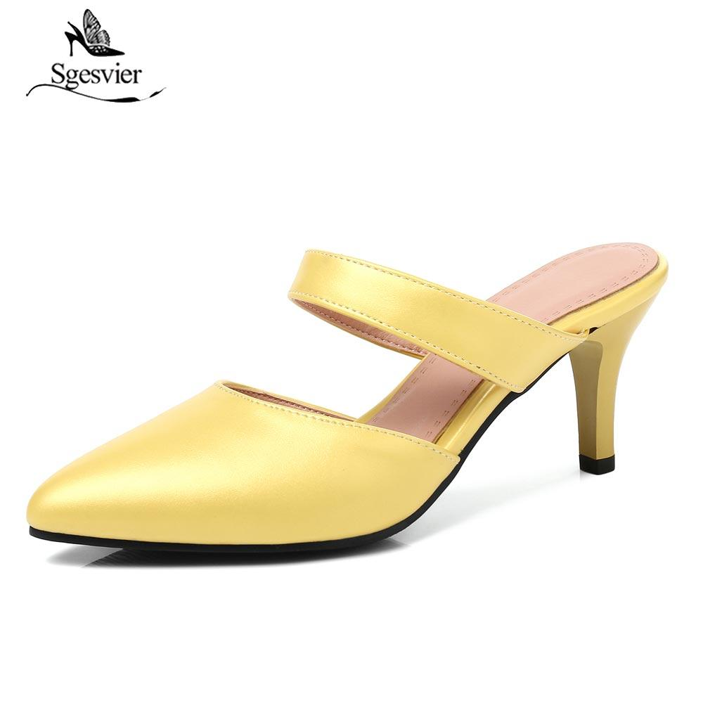 b2573f99481f4 wholesale 2018 Summer New Fashion Woman Shoes Sexy Thin High Heels Pointed  toe Mules Shoes Ladies Female Sandals Slippers B109