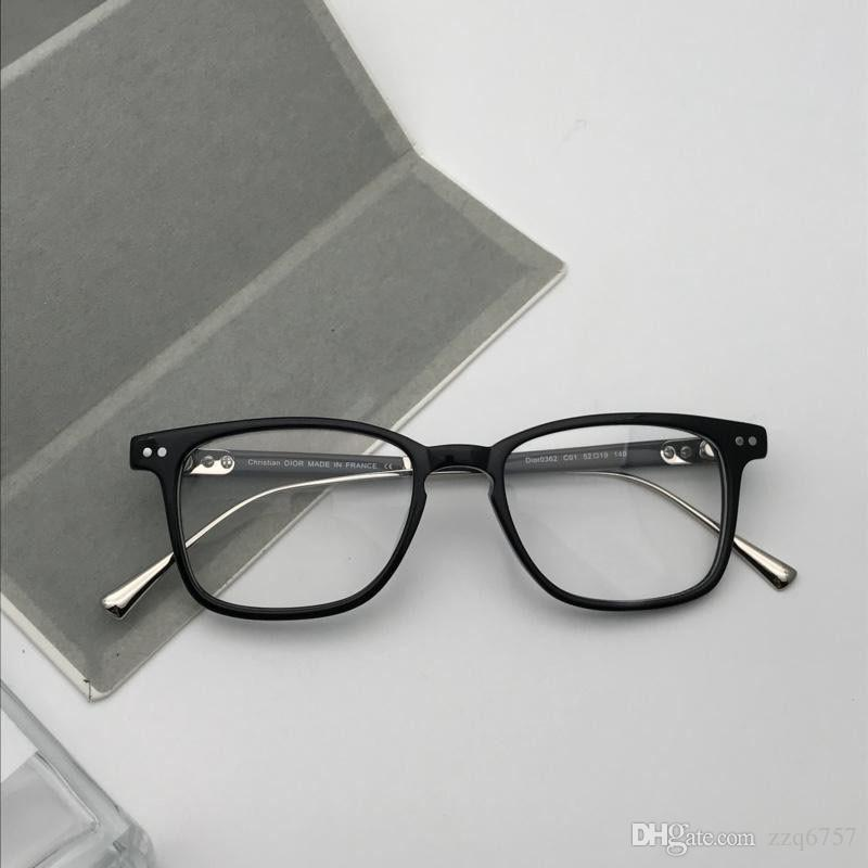 12a55c1f12 2019 Wholesale New Fashion Designer Optical Glasses 0362 Plate Frame Metal  Legs Top Quality Clear Lens Simple Style Transparent Eyewear From Zzq6757