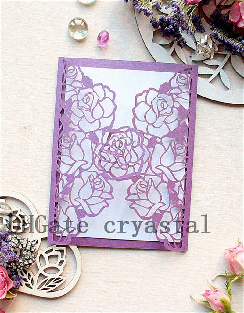 Elegant Laser Cut Wedding Invitations Purple Roses Delicate Design