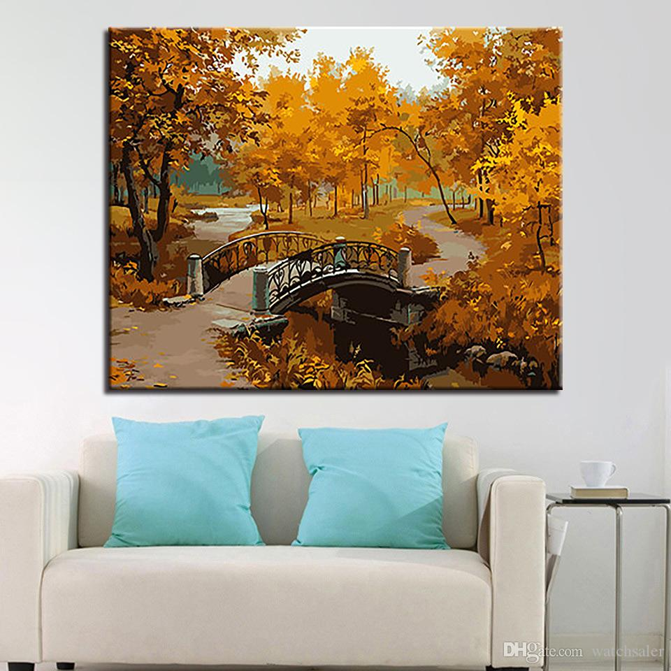Painting By Numbers DIY Digit Coloring Beautiful Late Autumn Bridge On Canvas Home Decor Abstract Scenery Oil Pictures Wall Art
