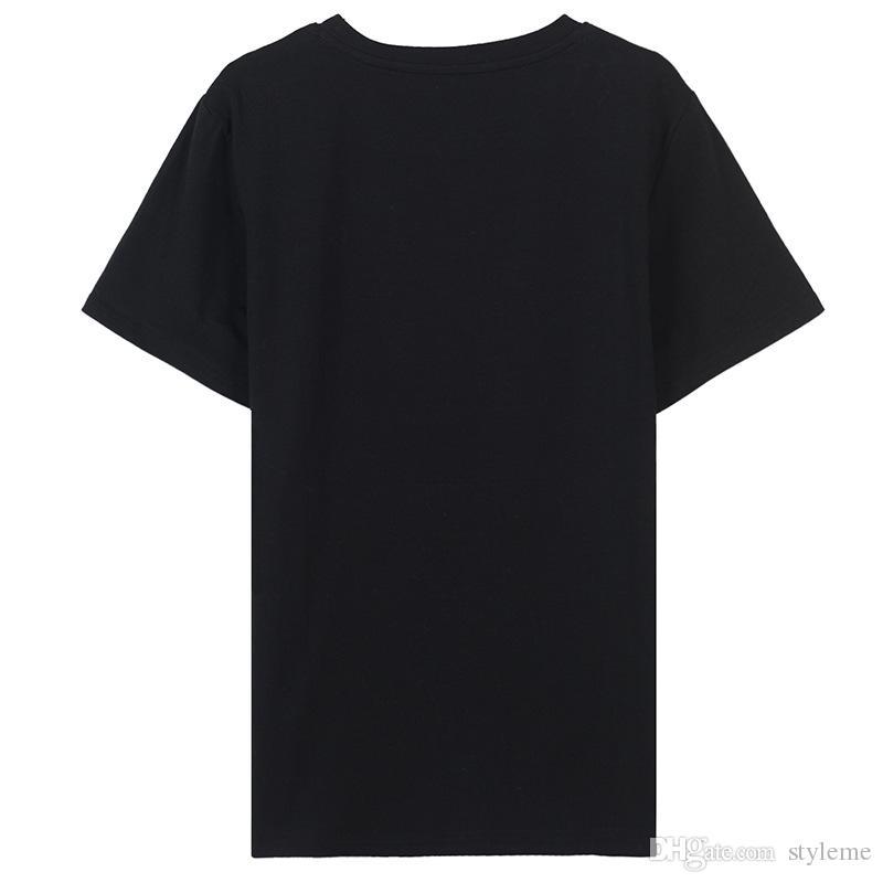 Designer Frauen Drucken T Shirts 2018 Frühling Sommer Beiläufige Weibliche Hand Brief Drucke Rundhals Kurzarm Schwarz Plain T Tops