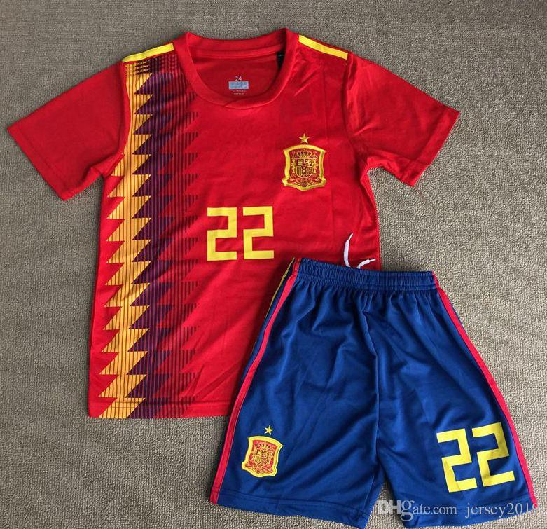 2019 2018 World Cup Spain Soccer Jersey Kids Kit 2018 Spain Home Red Soccer  Jerseys  7 MORATA  22 ISCO Child Soccer Shirts Uniform Jersey+Shorts From  ... 6c8c0d035