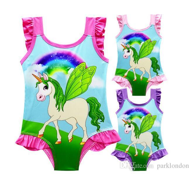 2018 6 projeto INS Unicorn Swimwear One Piece Bowknot Maiô Biquíni Grandes Crianças Verão Dos Desenhos Animados Infantil Swim Maiôs Beachwear