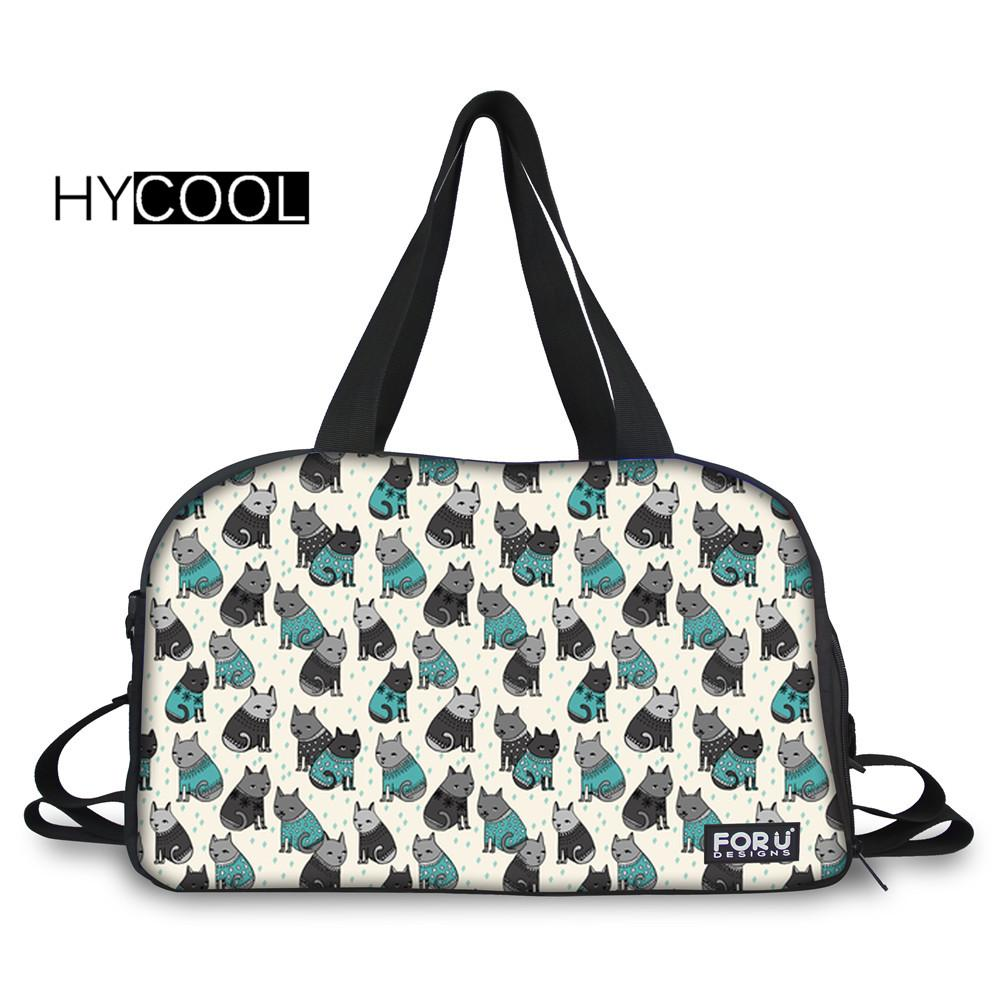 cad93a658f09 HYCOOL Cat Printed Sports Gym Bags Women Fitness Breathable ...