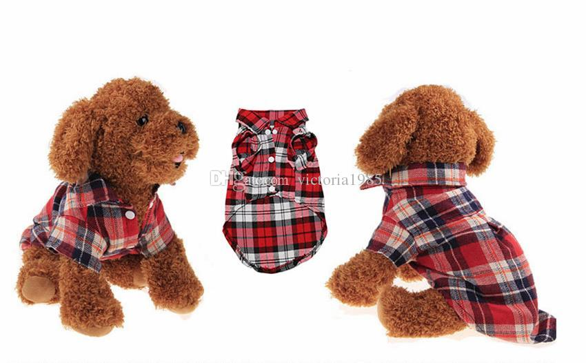 Pet Puppy Dog Clothes Summer Plaid Dog Shirt Coats Jackets Cat Grid Costumes for Small Medium Dogs Yorkies Chihuahua Clothes