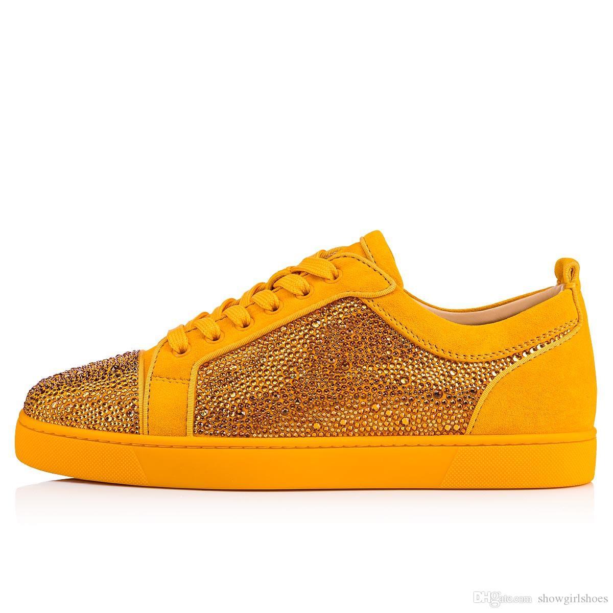 2018 uomini di marca scarpa strass stud sneakers rosso suola uomo scarpe glitter scarpe da festa lace up scarpe da tennis diamante fondo rosso scarpe casual