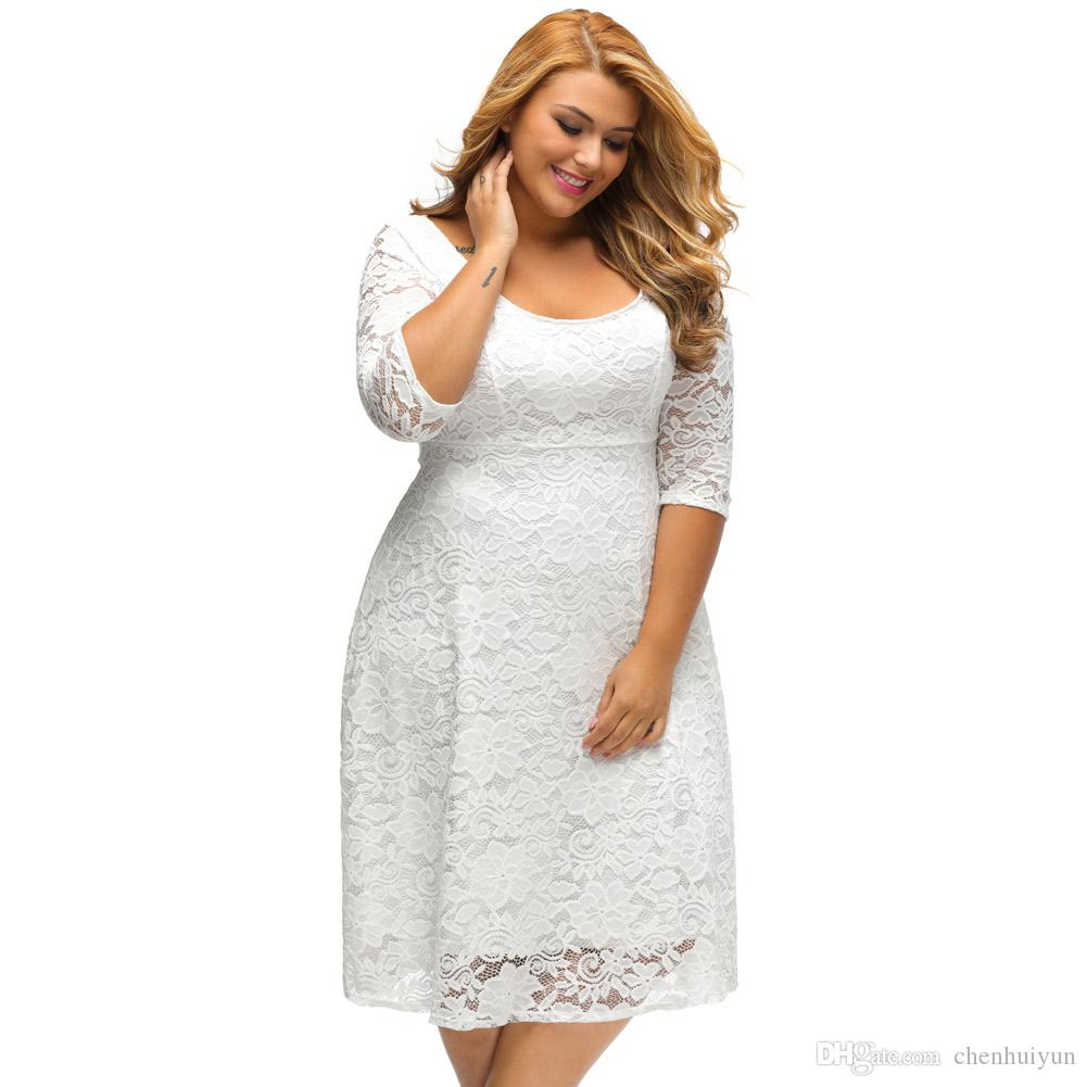 Großhandel Frauen Plus Größe Kleid Floral Lace Sleeved Fit Und Flare ...