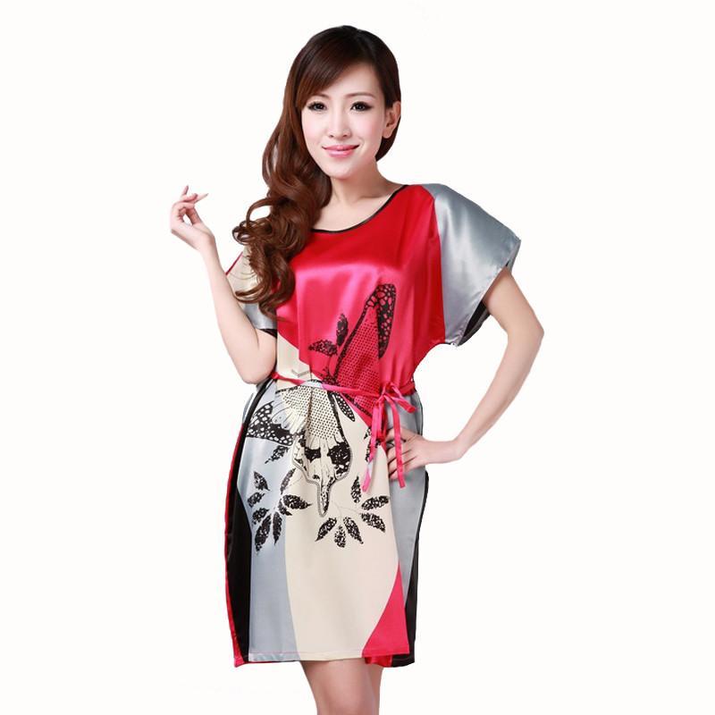 Sexy Vêtements Bain Maison Robe Marque Casual Chemise Chinoises Imprimer Satin De En Femmes Nouvelles Nightshirt Nuit Été 8kwPN0nOXZ
