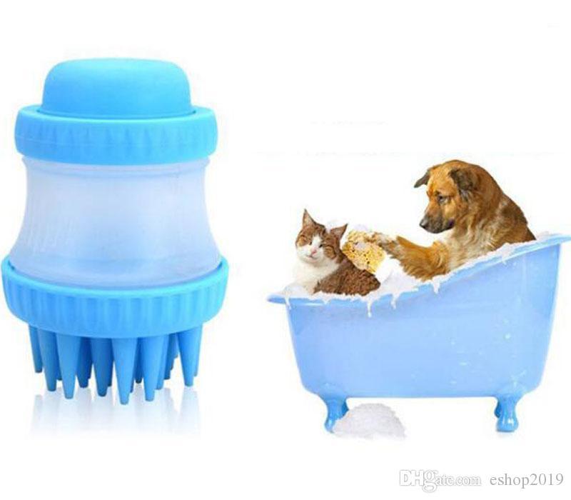 Pet dog soap dispensing brush for bath and massage scrubber pet bath brush reduce shedding during bath time rubber pet brush dog grooming