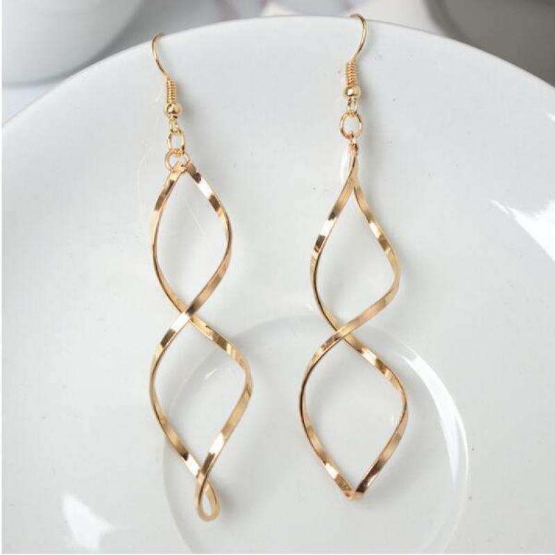 2019 The New Minimalist Spiral Curled Silver Earrings Design Sense