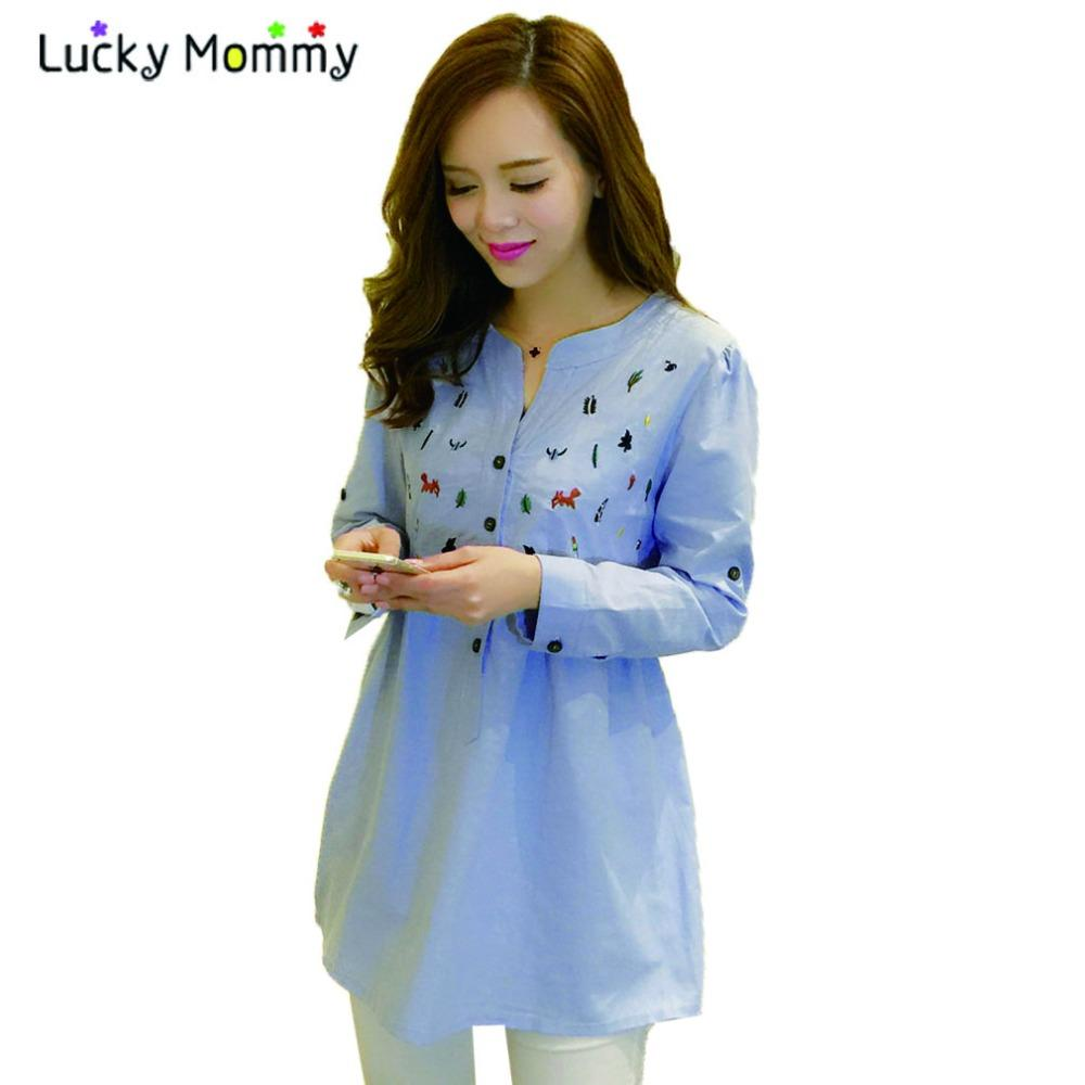 d96b90f943c18 2019 Plus Size Maternity Blouses Shirts For Pregnant Women Long Sleeved  Blue Pregnancy Shirt Pregnant Blouse Spring Maternity Clothes From  Newyearable