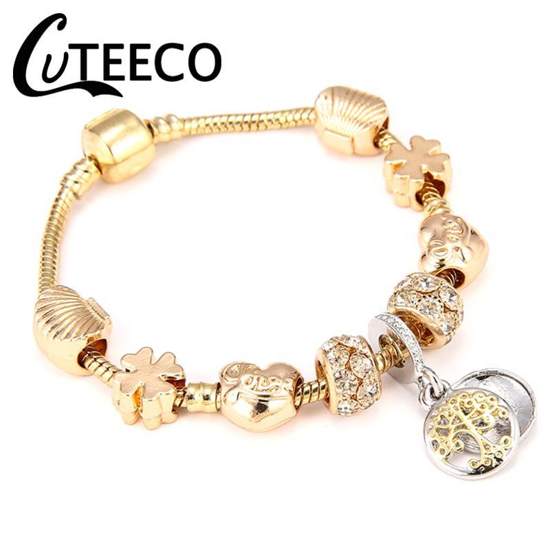 CUTEECO New Style Golden Life Tree Charm Bracelets & Bangles DIY Beads Fit Pandora Bracelets for Women Handmade Gifts