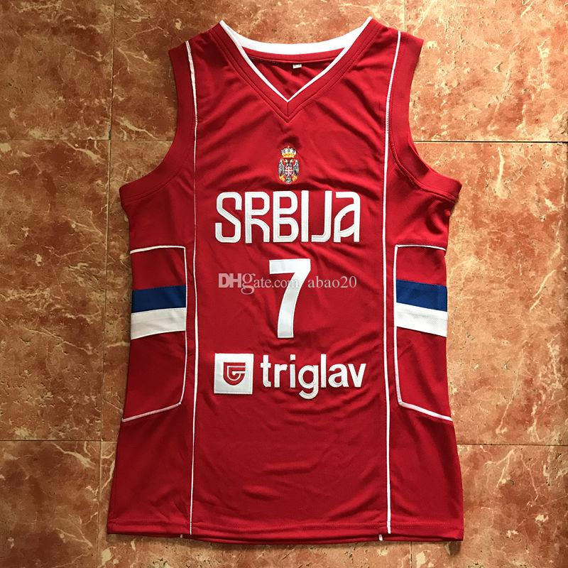brand new ae493 dd121 #7 Bogdan Bogdanovic 2017 Team Serbia Basketball Jersey Men s Red  Embroidery Stitches Customize any Number and name jerseys
