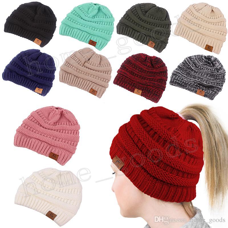 Großhandel Winter Frauen Pferdeschwanz Hüte 11 Farben Mode Häkeln ...