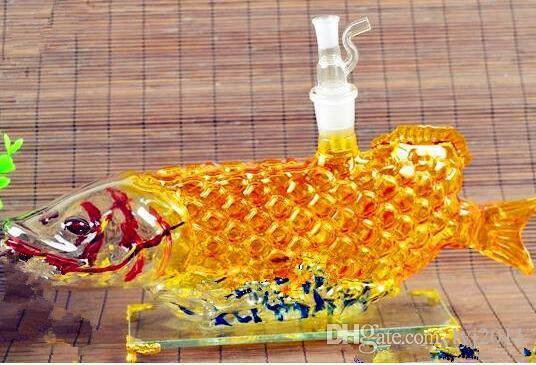 Золотой дракон рыба горшок Оптовая стеклянные бонги масляная горелка стекло водопровод нефтяные вышки курительные вышки